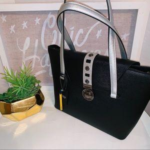 NWT Cromia Genuine Italian Black Leather Handbag